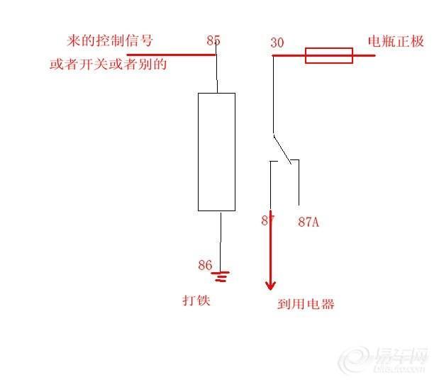 5角汽车继电器接线图